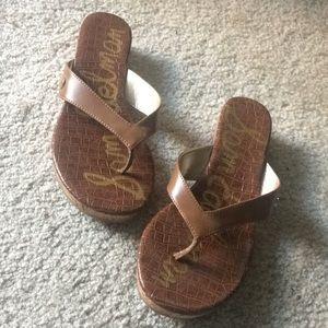 Sam Edelman tan low wedge sandals size 9